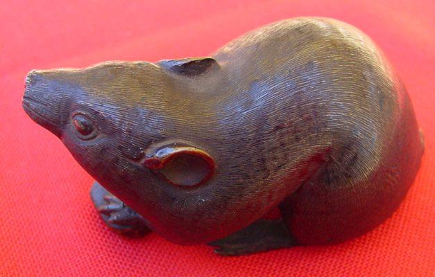 (1018800) Sehr alte Rattenfigur. Japanische /asiatische Bronze, um 1890, 420 Gramm !   1