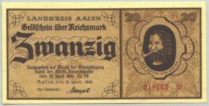 (1011409) Geldschein 20 Reichsmark Aalen, vom 15. 4. 1945. Selten !