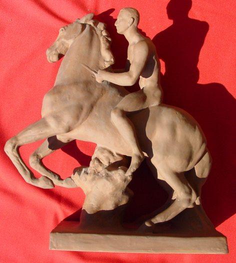 (1019316) Karlsruher Majolika Nr. 4566. Große Reiterfigur