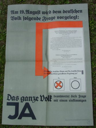 (2001147) Großes NS-Propaganda-Plakat 1934 ! Format ca. 59 x 83 cm. Original in gutem Zustand. Siehe bitte Beschreibung ...