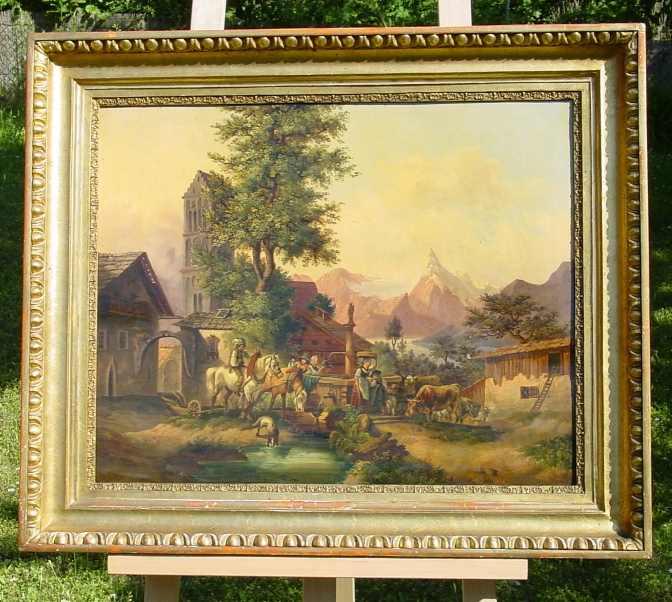 (Gem 101) Altes Ölgemälde auf Leinen. Bergbauernmotiv. Süddeutsch ? Um 1880-1900 ? Siehe bitte Beschreibung u. Bilder ...