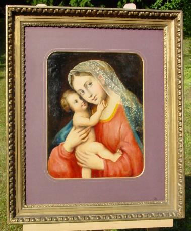 (Gem 108) Altes Ölgemälde auf Karton mit schöner Darstellung (Maria mit Kind ?) in altem Holzrahmen goldverziert. Siehe bitte Beschreibung u. Bilder ...
