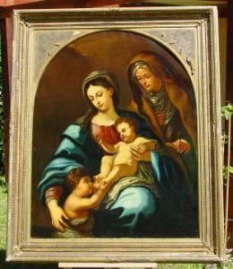 (Gem 115) Altes u. großes Ölgemälde auf Leinen. Religiöses Motiv. Um 1900 ? Siehe bitte Beschreibung u. Bilder ...