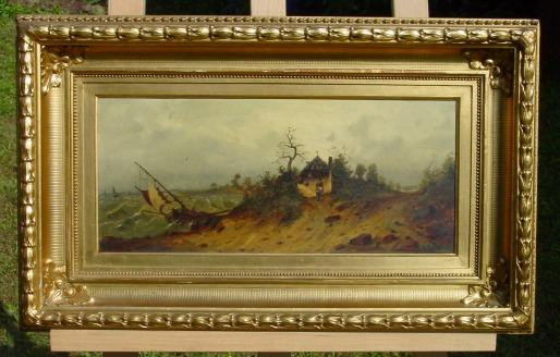 (Gem 118) Altes Ölgemälde auf Leinen. Seemotiv. Signiert von R. Alott. Um 1890 ? Siehe bitte Beschreibung u. Bilder ...