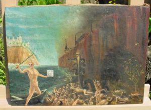 """(Gem 109) Altes Ölgemälde auf Leinen """"Zwei Welten"""" Von Hellmuth Büttner 1931. Siehe bitte Beschreibung u. Bilder ..."""