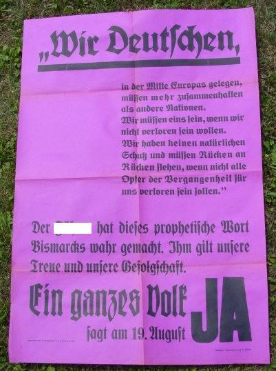 (2001153) Propaganda-Plakat 1934. Gaupropagandaleitung der NSDAP. Format ca. 58 x 84 cm. Siehe bitte Beschreibung u. Bild