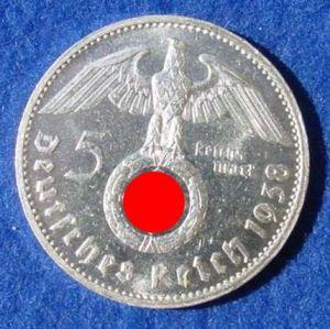(1030501) 5 Reichsmark 1938-G Hindenburg / Hakenkreuz, J. 367. Siehe bitte Erhaltung.