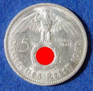 (1030504) 5 Reichsmark 1939-B, Hindenburg / Hakenkreuz, J. 367. Siehe bitte Erhaltung.