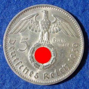 (1030506) 5 Reichsmark 1939-F, Hindenburg / Hakenkreuz, J. 367. Siehe bitte Erhaltung.