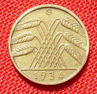 1031258 Deutsches Reich 10 Pfennig 1934 G J 317 Sehr Seltene