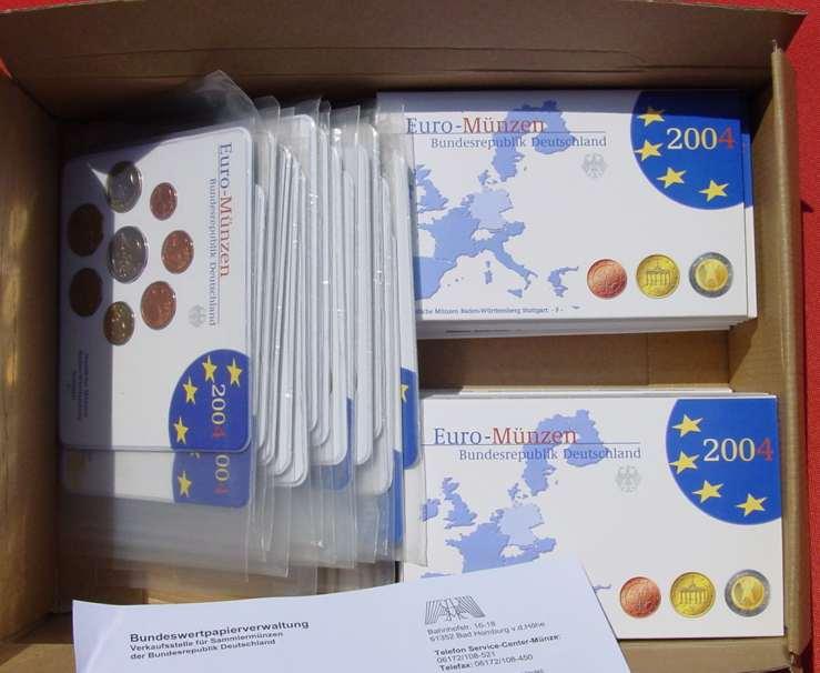 (1038886) 30 x Kursmünzen-Sätze Deutschland 2004. Spiegelglanz (PP) und Stempelglanz. Siehe bitte Beschreibung.