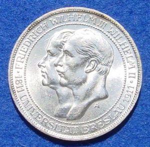 (1038925) Silbermünze Preußen 3 Reichsmark 1911 Uni Breslau. Deutsches Reich, Jaeger-Nr. 108. Siehe bitte Bilder.