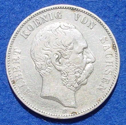 (1038931) Silbermünze Sachsen 5 Reichsmark 1876 Deutsches Reich. Jaeger Nr. 122. Siehe bitte Bilder.
