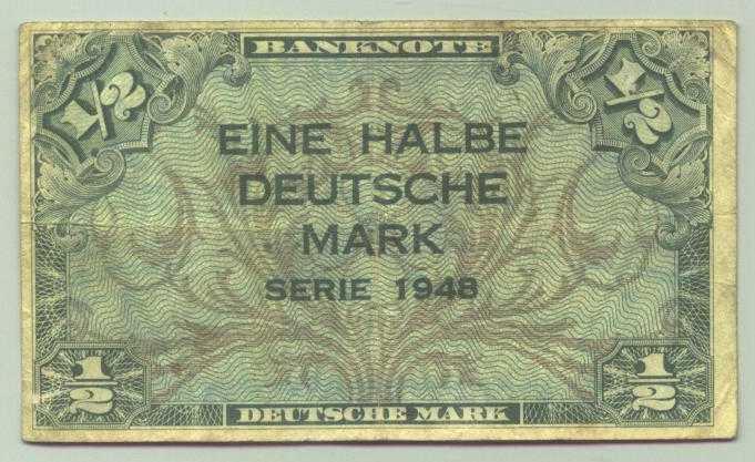 (R80014) Deutschland. Halbe Deutsche Mark. Serie 1948. Original. Banknote. Geldschein