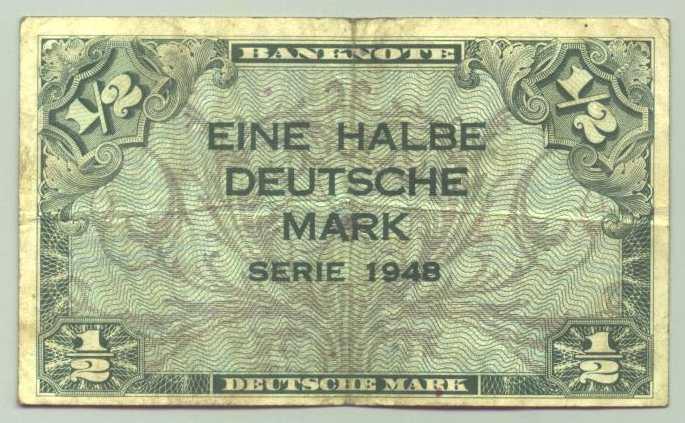 (R80018) Deutschland. Halbe Deutsche Mark. Serie 1948. Original. Banknote. Geldschein. Kopfgeld.