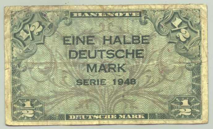 (R80019) Deutschland. Halbe Deutsche Mark. Serie 1948. Original. Banknote. Geldschein. Kopfgeld.