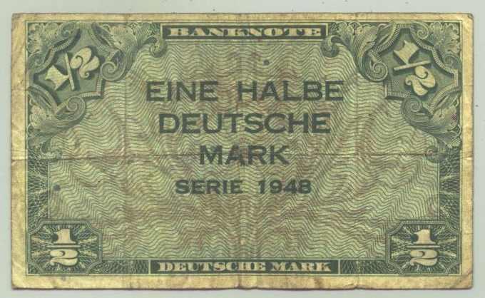 (R80021) Deutschland. Halbe Deutsche Mark. Serie 1948. Original. Banknote. Geldschein. Kopfgeld.