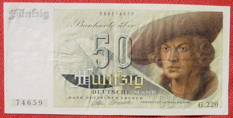 (R82414) Deutschland. Fünfzig Deutsche Mark. Serie 9. 12. 1948. Original- Banknote.