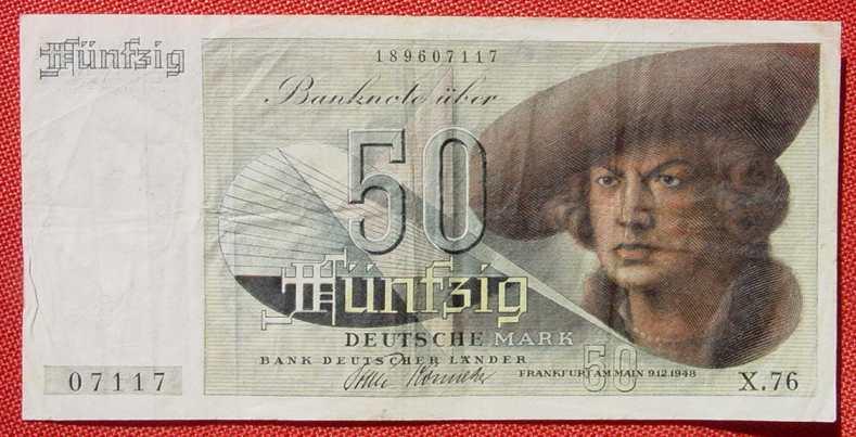 (R82412) Deutschland. Fünfzig Deutsche Mark. Serie 9. 12. 1948. Original- Banknote.