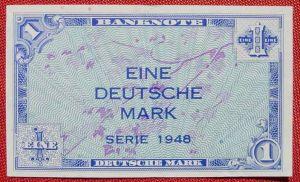 (R80213) Deutschland. Eine Deutsche Mark. Serie 1948. Original. Banknote. Geldschein. Kopfgeld.