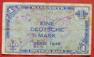 (R80214) Deutschland. Eine Deutsche Mark. Serie 1948. Original. Banknote. Geldschein. Kopfgeld.