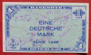 (R80215) Deutschland. Eine Deutsche Mark. Serie 1948. Original. Banknote. Geldschein. Kopfgeld.