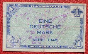 (R80216) Deutschland. Eine Deutsche Mark. Serie 1948. Original. Banknote. Geldschein. Kopfgeld.