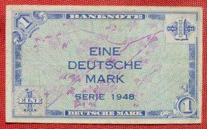 (R80218) Deutschland. Eine Deutsche Mark. Serie 1948. Original. Banknote. Geldschein. Kopfgeld.