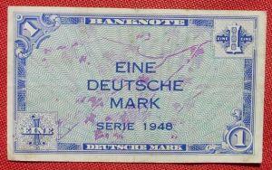 (R80219) Deutschland. Eine Deutsche Mark. Serie 1948. Original. Banknote. Geldschein. Kopfgeld.