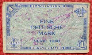 (R80222) Deutschland. Eine Deutsche Mark. Serie 1948. Original. Banknote. Geldschein. Kopfgeld.