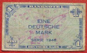 (R80223) Deutschland. Eine Deutsche Mark. Serie 1948. Original. Banknote. Geldschein. Kopfgeld.
