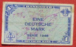 (R80224) Deutschland. Eine Deutsche Mark. Serie 1948. Original. Banknote. Geldschein. Kopfgeld.
