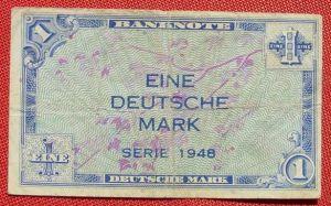 (R80228) Deutschland. Eine Deutsche Mark. Serie 1948. Original. Banknote. Geldschein. Kopfgeld.