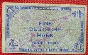 (R80230) Deutschland. Eine Deutsche Mark. Serie 1948. Original. Banknote. Geldschein. Kopfgeld.