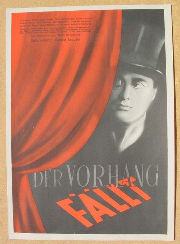 (2001697) Original Filmplakat \'Der Vorhang fällt\'. Ufa-Film 1939-1940, aus Ufa-Programm-Mappe, Scherl-Verlag, Berlin. Siehe bitte Beschreibung ...