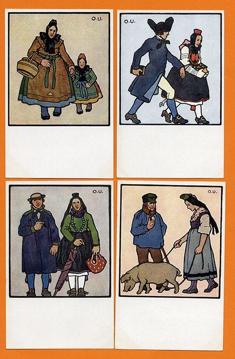 Hessen Hessische Trachten 4 Künstler Karten signiert Otto Ubbelohde 1910