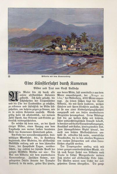 Kunst Maler Afrika Kolonie Reise nach Kamerun Ernst Vollbehr 1913