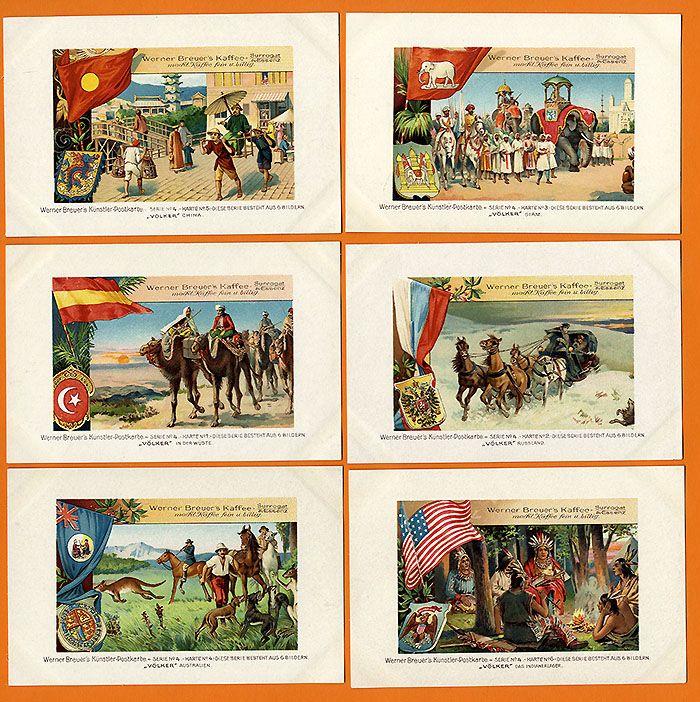 Werbung Reklame Werner Breuer Kaffee Surrogat Litho Postkarten Serie um 1910