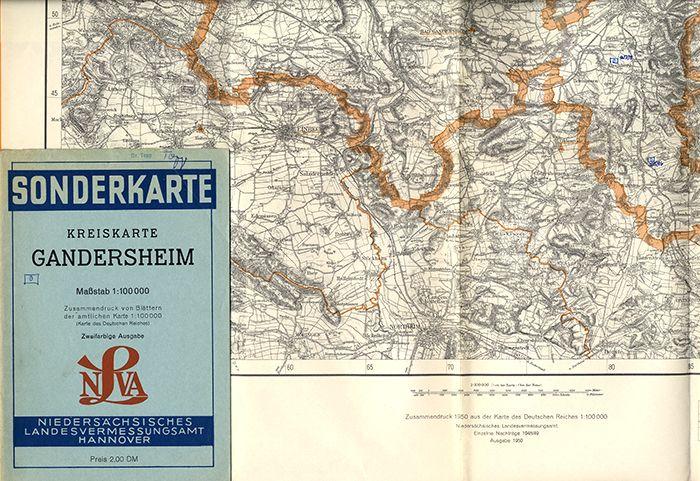 Alte Landkarte Niedersachsen Gandersheim Seesen Einbeck Astfeld 1954