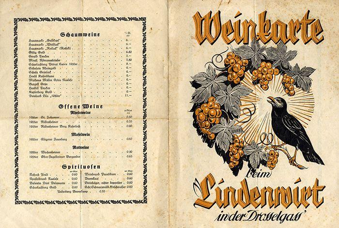 Werbung Reklame Alte Weinkarte Rüdesheim Lindenwirt Drosselgasse um 1928