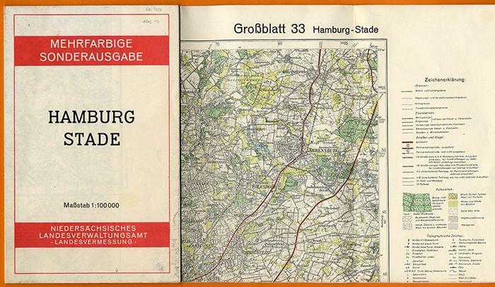 Alte Landkarte Hamburg Niedersachsen Stade Ahrensburg Pinneberg Buchholz 1959