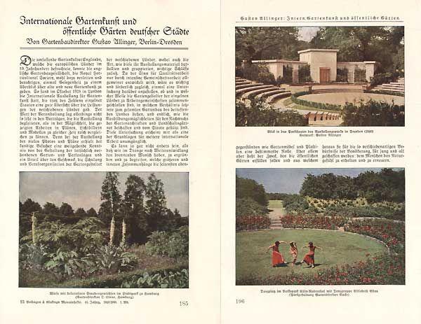 Garten Kunst in deutschen Städten Park Grüngürtel Konzept Gustav Allinger 1930