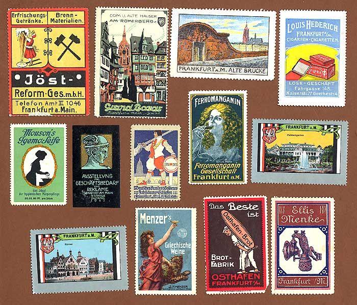 13 alte Reklamemarken Vignetten der Stadt Frankfurt Main Werbung Reklame ab 1900