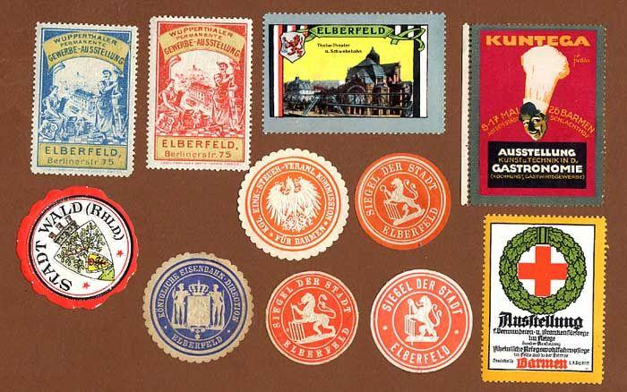 11 Vignetten Reklamemarken Siegelmarken aus Elberfeld und Barmen ab 1900