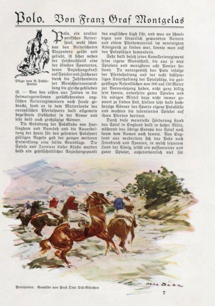 Pferde Reiten Polo Sport Geschichte und Entwicklung in Deutschland 1928