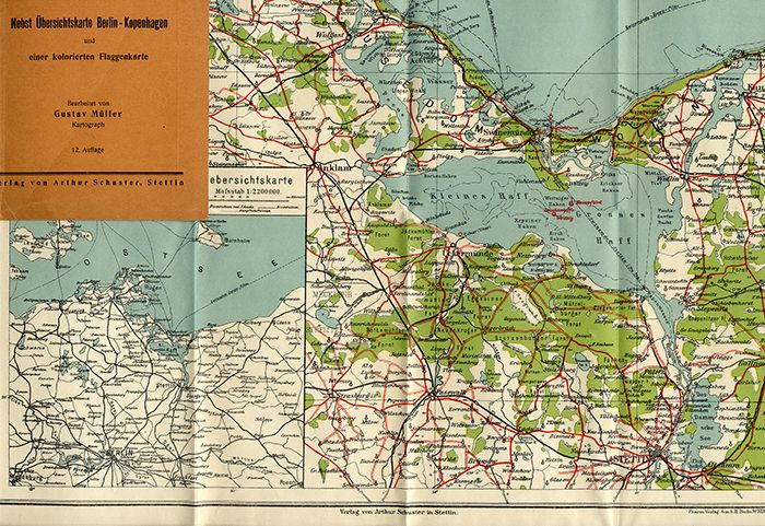 Insel Usedom Karte Ostsee.Alte Landkarte Ostsee Insel Rügen Usedom Pommern Swinemünde Stettin 1930