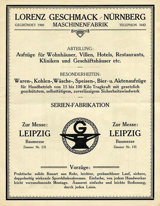 Nürnberg Alte Werbung Reklame für Mechanischen Waren Aufzug Messe Prospekt 1900