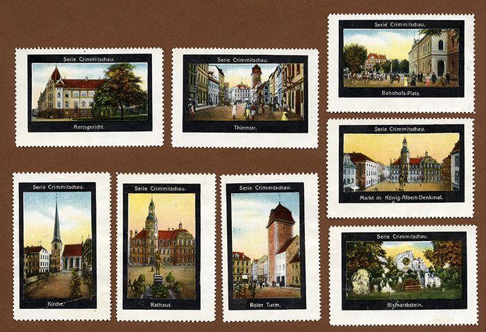 Sachsen Stadt Chrimmitschau 9 Bildermarken Vignetten Serie 1910