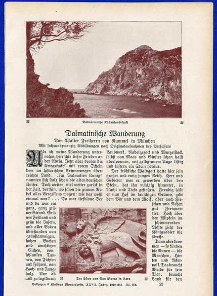 Balkan Adria Kroatien Montenegro Geschichte Kultur alter Reisebericht von 1913