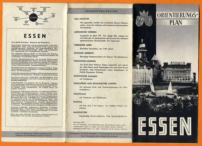 Westfalen Ruhr Essen alter Stadtplan mit Stadtteilen Huttrop Heide Breden 1960